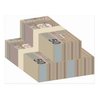 Pilhas falsificadas do dinheiro cartão postal