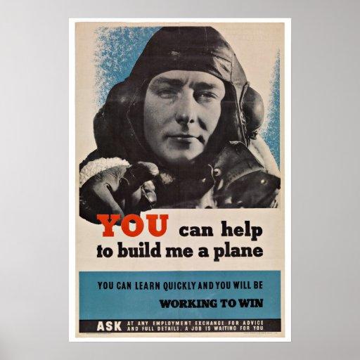 Piloto dos aviões de WWII - patriotismo do vintage Poster