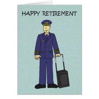 Piloto feliz da aposentadoria cartão comemorativo