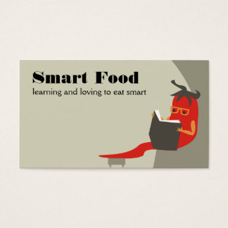 pimenta de pimentão que lê cartões de visitas