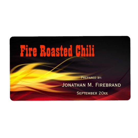 Pimentão das chamas ou etiqueta escovada da loja etiqueta de frete