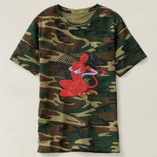 Pin-acima da Diabo-Menina Camiseta