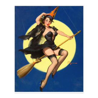 Pin da bruxa do Dia das Bruxas acima da menina Panfleto Personalizados