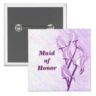 Pin do botão da madrinha de casamento do rosa do bóton quadrado 5.08cm
