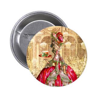 Pin do botão do tea party do Natal de Marie Antoin Bóton Redondo 5.08cm