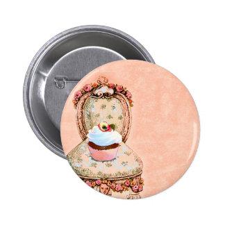 Pin do cupcake e do botão do estilo do vintage da boton