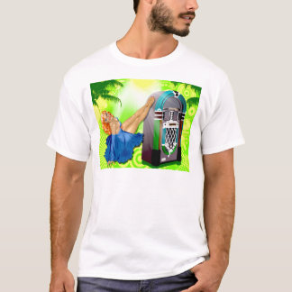 Pin do jukebox acima da menina camiseta