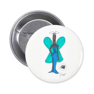 Pin Glam GreenBlue do botão da forma da Bóton Redondo 5.08cm