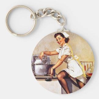 Pin retro da enfermeira de Gil Elvgren do vintage  Chaveiros