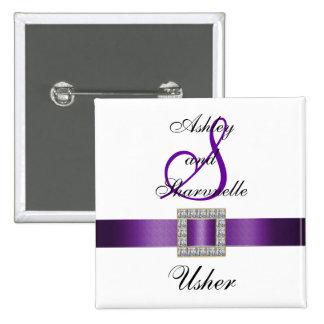 Pin roxo, preto, branco de Usher Bóton Quadrado 5.08cm