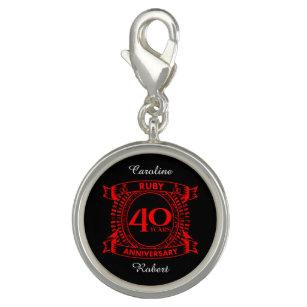 Pingente 40th crista do rubi do aniversário de casamento