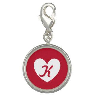 Pingente Coração branco no vermelho com monograma
