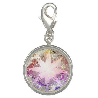 Pingente Cristal de rocha cor-de-rosa do compasso da