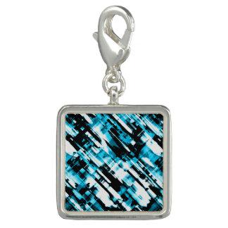 Pingente Encante o digitalart abstrato azul e preto quente
