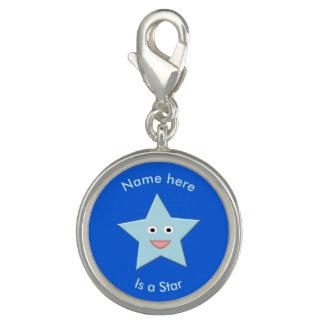 Pingente Encanto azul brilhante do costume da estrela da