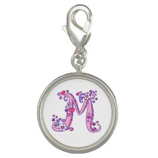 Pingente Encanto do roxo do rosa da arte da letra M do