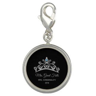 Pingente Encanto-Nome do SP da coroa da prata do rodeio da