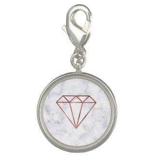 Pingente mármore cor-de-rosa do branco do diamante do ouro