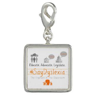 Pingente O encanto quadrado do #SayDyslexia, prateia