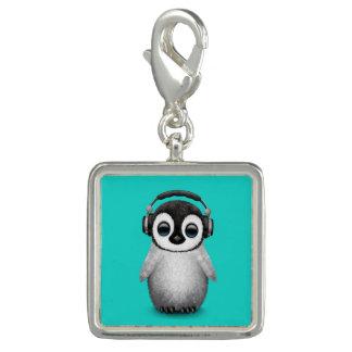 Pingente Pinguim bonito DJ do bebê que veste fones de