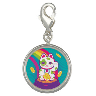 Pingente Pote de boa sorte de Maneki Neko do gato de ouro