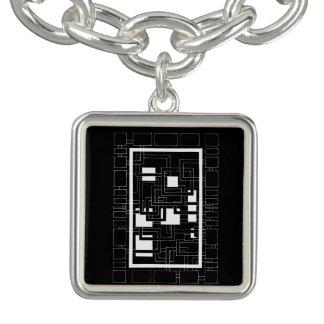 """Pingente quadrado """"Labirinto de quadrados"""", preto"""