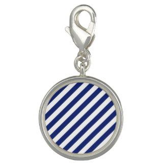 Pingente Teste padrão diagonal do azul marinho e o branco