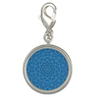 Pingentes Com Foto Encanto azul decorativo do teste padrão do vintage