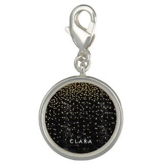 Pingentes Com Foto mármore elegante do preto dos confetes do brilho