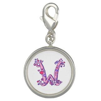Pingentes Com Foto Rotule o coração do monograma de W para florescer