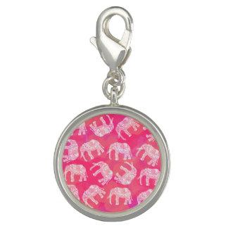 Pingentes Com Foto teste padrão floral tribal colorido cor-de-rosa
