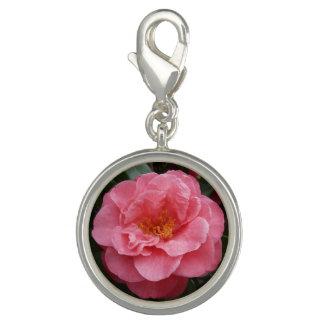 Pingentes Com Fotos Jóia cor-de-rosa do encanto da flor da camélia
