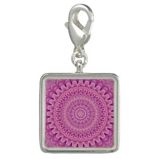 Pingentes Com Fotos Mandala cor-de-rosa da flor