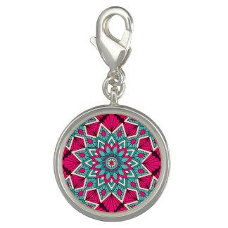 Pingentes Com Fotos Rosa e teste padrão floral da mandala de turquesa