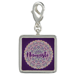 Pingentes Mandala floral cor-de-rosa de Namaste e roxa