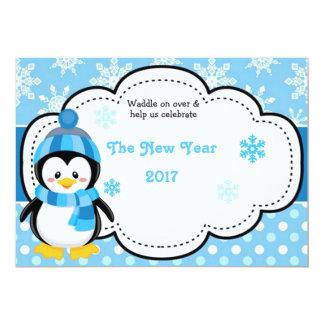 Pinguim 2017 do feliz ano novo convite 12.7 x 17.78cm