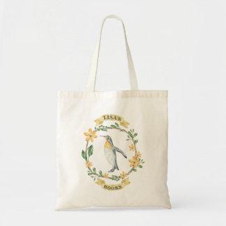 Pinguim amarelo floral saco personalizado da bolsa tote