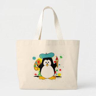 Pinguim artístico sacola tote jumbo