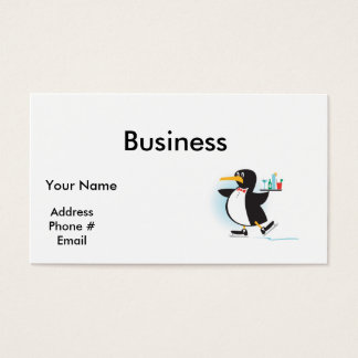 pinguim bonito do garçom em skates cartão de visitas