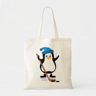 Pinguim bonito do hóquei com vara de hóquei bolsa tote