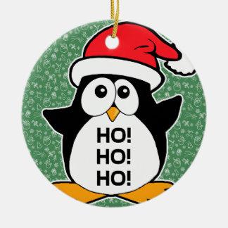 Pinguim bonito do Natal Ho Ho Ho Ornamento De Cerâmica Redondo