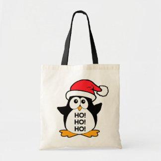 Pinguim bonito do Natal Ho Ho Ho Sacola Tote Budget