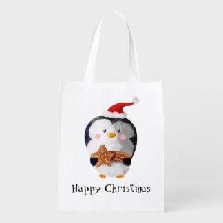 Pinguim bonito do Natal Sacolas Ecológicas Para Supermercado