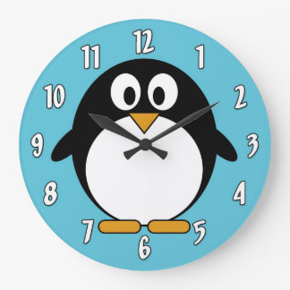 Pinguim bonito dos desenhos animados relógio grande