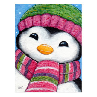 Pinguim bonito que veste o cartão do chapéu e do