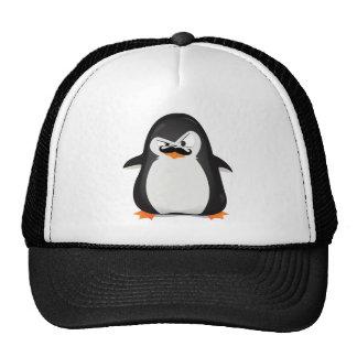 Pinguim branco preto bonito e bigode engraçado boné
