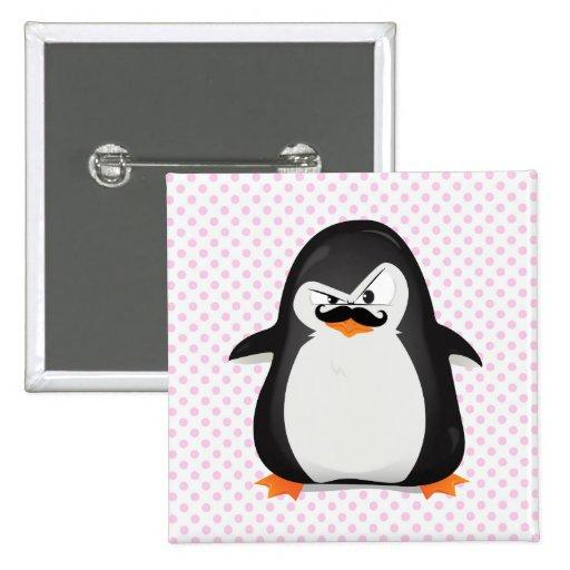 Pinguim branco preto bonito e bigode engraçado botons