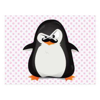 Pinguim branco preto bonito e bigode engraçado cartão postal