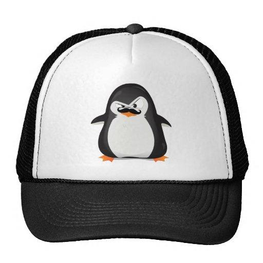Pinguim branco preto bonito e bigode engraçado bonés