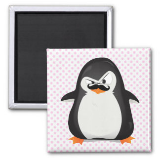 Pinguim branco preto bonito e bigode engraçado ímã quadrado